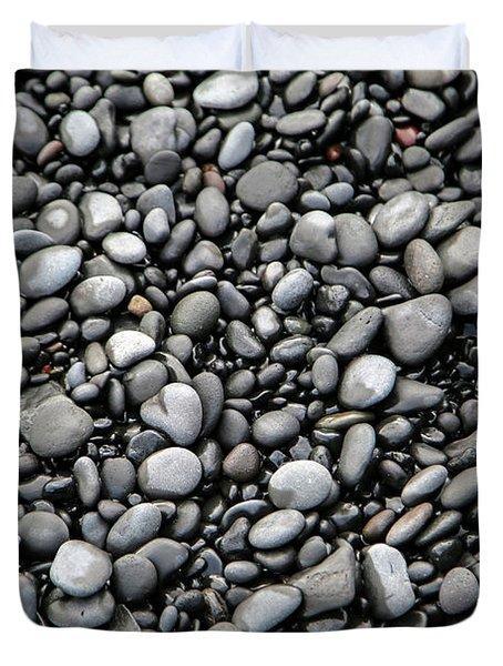 Nestled Beach Stones By The Hundreds Duvet Cover