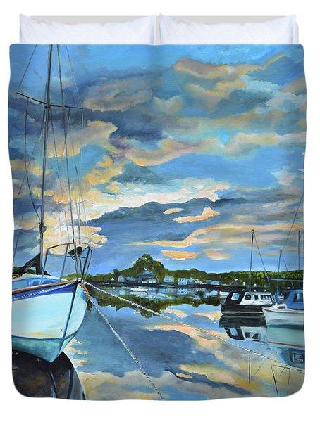 Nestled In For The Night At Mylor Bridge - Cornwall Uk - Sailboat  Duvet Cover