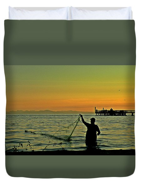 Net Fishing At Dusk Duvet Cover