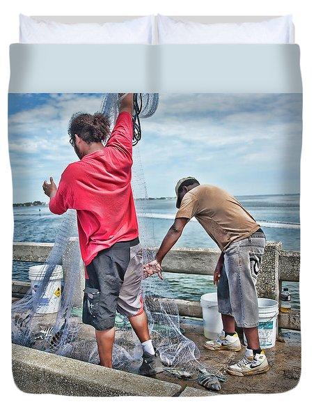 Net Fishing On Cortez Bridge  Duvet Cover