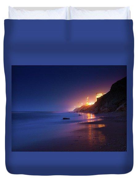 Netanya Beach At Night Duvet Cover