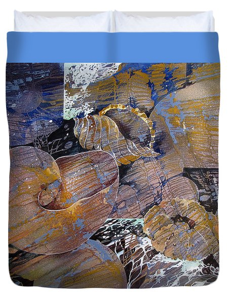 Duvet Cover featuring the painting Netted by Rae Andrews