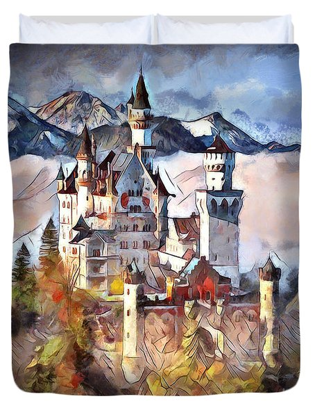 Duvet Cover featuring the digital art Neuschwanstein Castle by Pennie McCracken