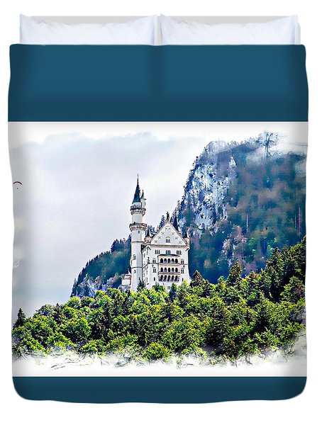 Neuschwanstein Castle With A Glider Duvet Cover by Joseph Hendrix