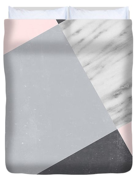 Neutral Collage With Marble Duvet Cover