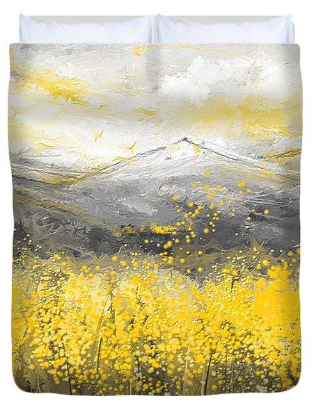 Neutral Sun - Yellow And Gray Art Duvet Cover