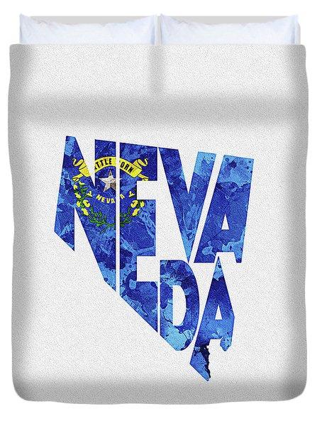 Nevada Typographic Map Flag Duvet Cover