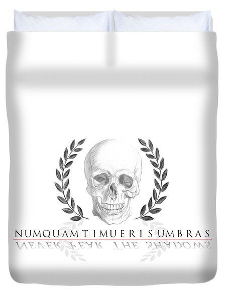Never Fear The Shadows Stoic Skull With Laurels Duvet Cover