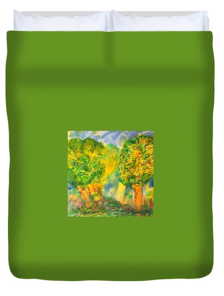 Duvet Cover featuring the painting Never Give Up On Your Dreams by Susan D Moody