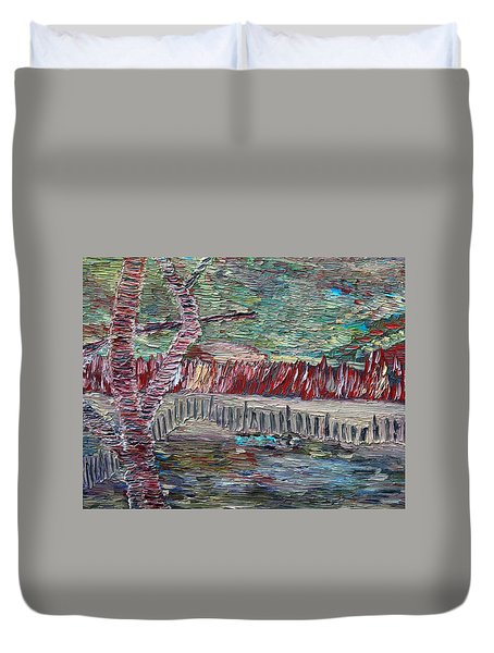 Duvet Cover featuring the painting Infinite Hope by Vadim Levin