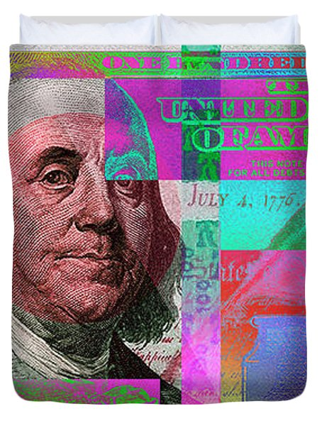 New 2009 Series Pop Art Colorized Us One Hundred Dollar Bill  No. 3 Duvet Cover