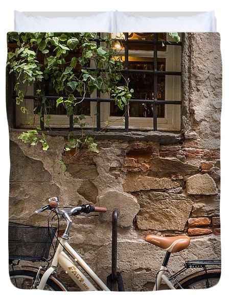 New Bike In Old Lucca Duvet Cover