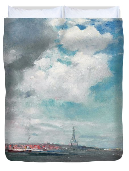 New Brighton From The Mersey Duvet Cover by JH Hay