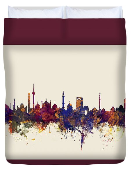 New Delhi India Skyline Duvet Cover