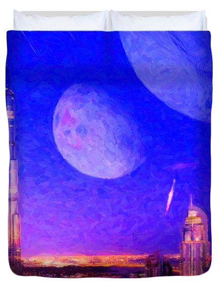 New Dubai On Tau Ceti E Duvet Cover by Chuck Mountain