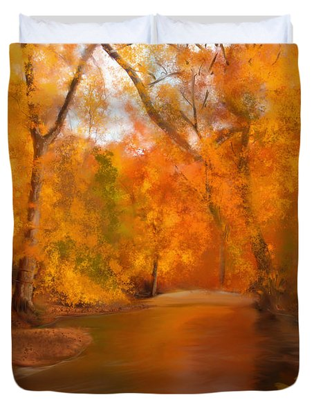 New England Autumn In The Woods Duvet Cover