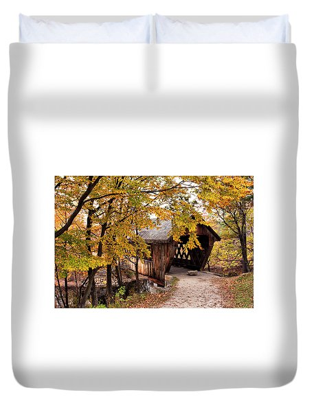 New England College No. 63 Covered Bridge  Duvet Cover by Betty Pauwels