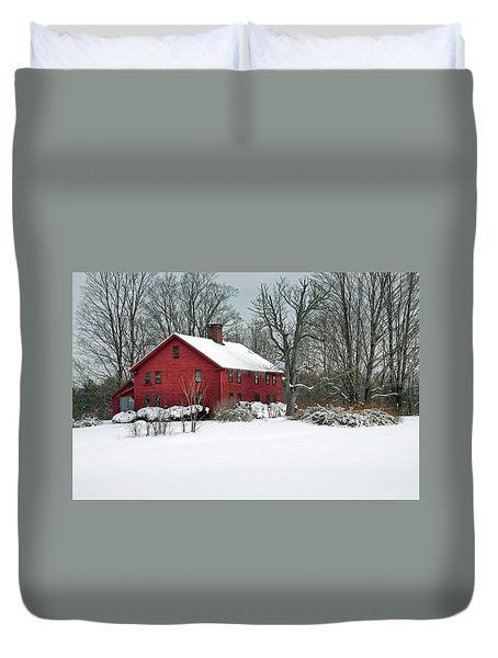 Duvet Cover featuring the photograph New England Colonial Home In Winter by Wayne Marshall Chase