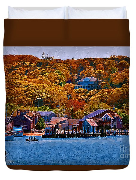 Duvet Cover featuring the digital art New England Fall Coastline by Kirt Tisdale