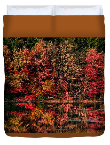 New England Fall Foliage Reflection Duvet Cover