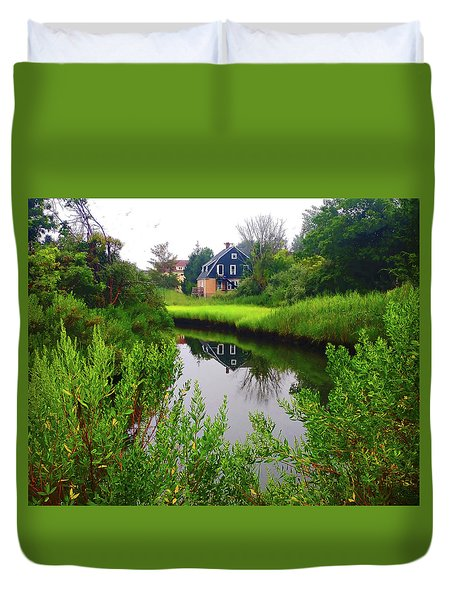 New England House And Stream Duvet Cover