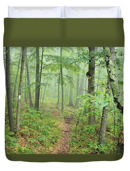 New England National Scenic Trail Misty Forest Duvet Cover