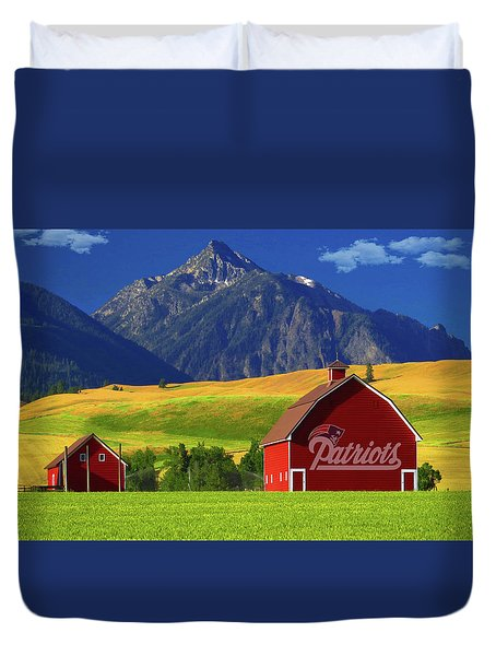 Duvet Cover featuring the photograph New England Patriots Barn by Movie Poster Prints