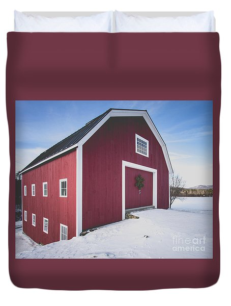 Duvet Cover featuring the photograph New England Red Barn Winter Orford by Edward Fielding