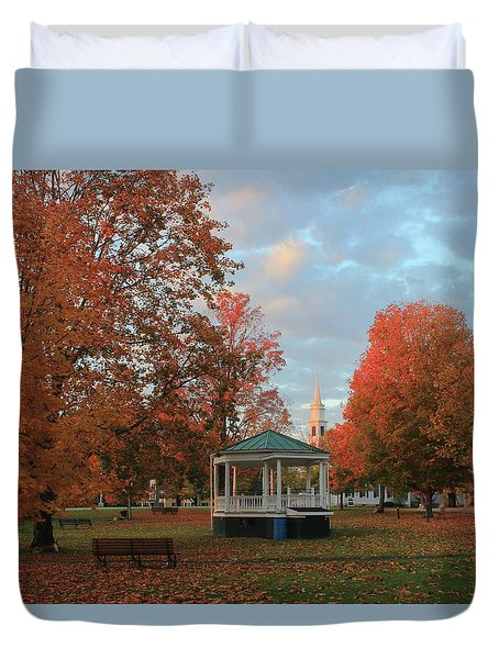 New England Town Common Autumn Morning Duvet Cover by John Burk