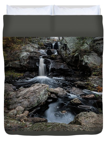 New England Waterfall In Autumn Duvet Cover