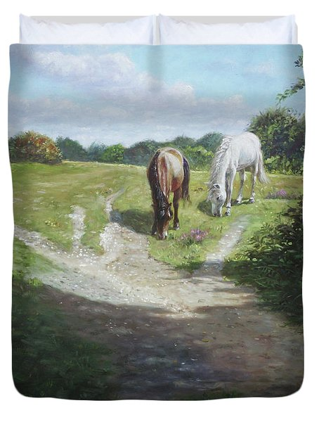 New Forest Horses With Light And Shade  Duvet Cover