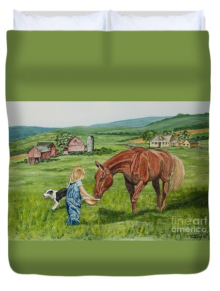 New Friends Duvet Cover by Charlotte Blanchard