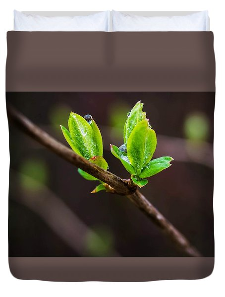 New Growth In The Rain Duvet Cover