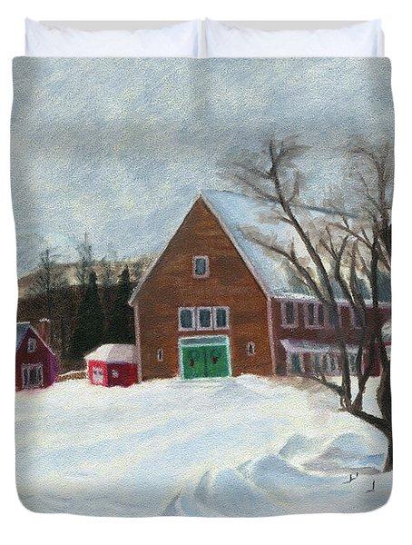 New Hampshire Farm In Winter Duvet Cover