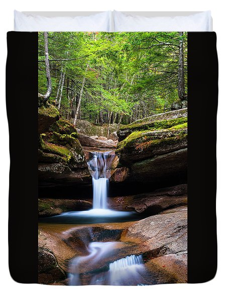 Duvet Cover featuring the photograph New Hampshire Sabbaday Falls And Fall Foliage Panorama by Ranjay Mitra