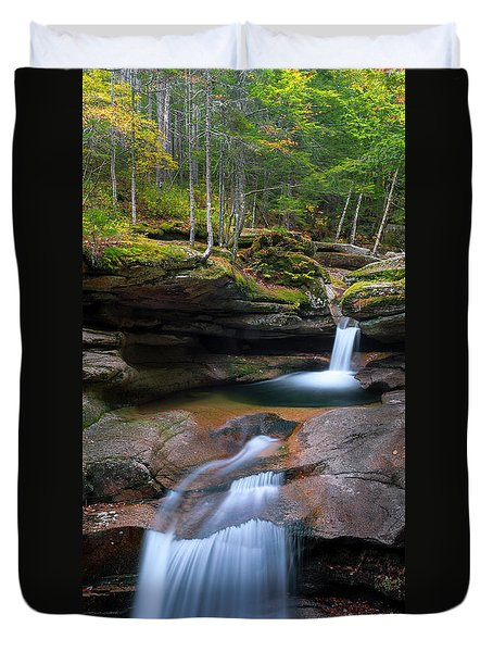 Duvet Cover featuring the photograph New Hampshire Sabbaday Falls Panorama by Ranjay Mitra