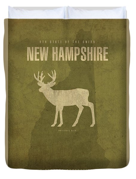 New Hampshire State Facts Minimalist Movie Poster Art Duvet Cover