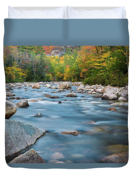 New Hampshire Swift River And Fall Foliage In Autumn Duvet Cover