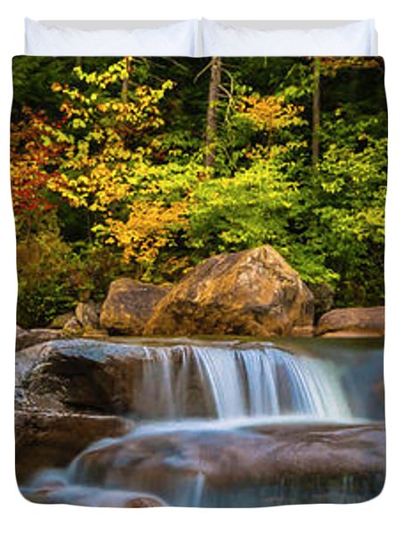 New Hampshire White Mountains Swift River Waterfall In Autumn With Fall Foliage Duvet Cover