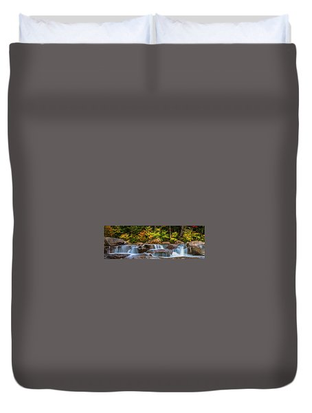 Duvet Cover featuring the photograph New Hampshire White Mountains Swift River Waterfall In Autumn With Fall Foliage by Ranjay Mitra