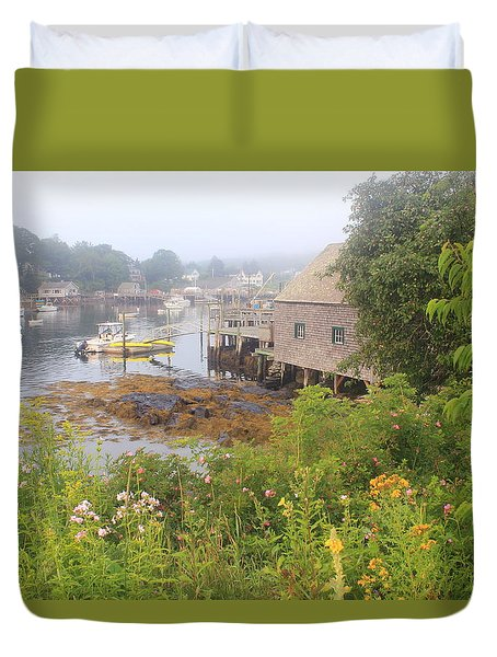 New Harbor Maine Foggy Summer Morning Duvet Cover