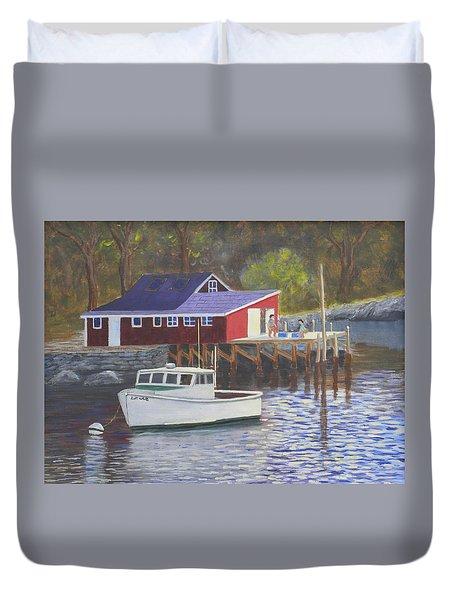 New Harbor Sunrise Duvet Cover