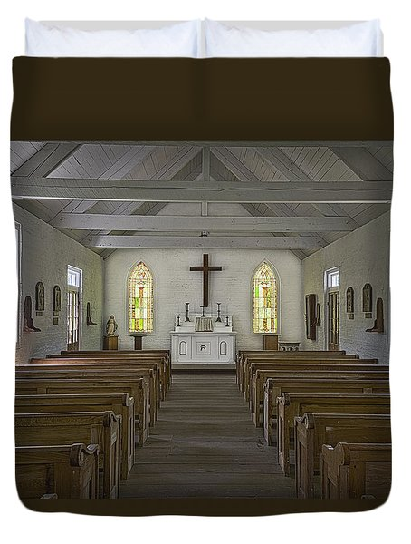 New Hope Chapel Duvet Cover by Andy Crawford