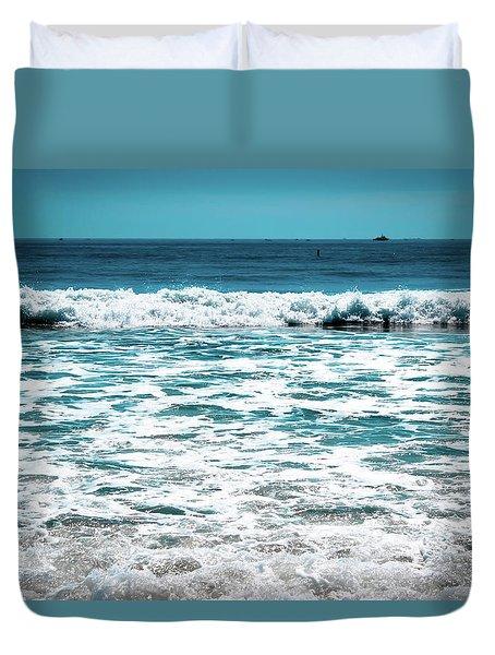 New Horizon - Blue Ocean Duvet Cover by Colleen Kammerer
