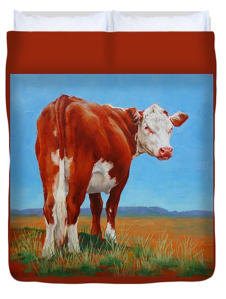 Duvet Cover featuring the painting New Horizons Undecided by Margaret Stockdale