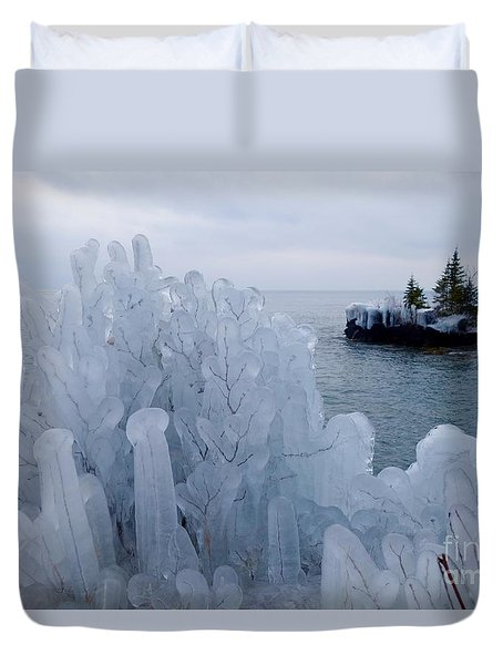 New Ice On Lake Superior Duvet Cover