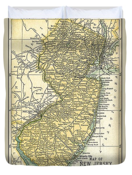 New Jersey Antique Map 1891 Duvet Cover