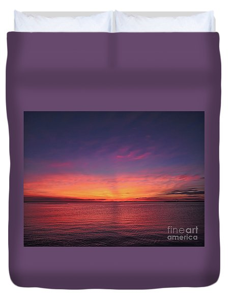 New Jersey Shore Sunset Duvet Cover
