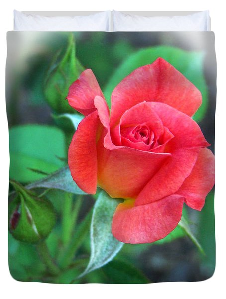 New Life In A Coral Rosebud Duvet Cover