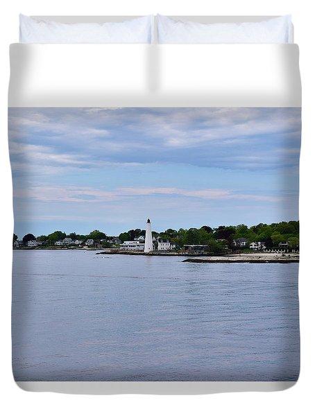 New London Harbor Lighthouse Duvet Cover